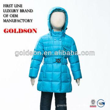 Chaqueta de invierno de los niños de Russial 90/10 abajo chaqueta encapuchada de la piel