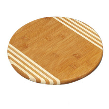 Round wood cutting board with stripe design