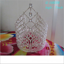 El desfile grande de la perla de la manera al por mayor corona la tiara personalizada alta llena