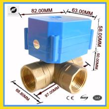 """3-Wege 3/4 """"Messing Motor Kugelhahn T Fluss für Auto-Ausrüstung Solar-Wasser-System Warmwasserbereiter"""