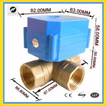 """3 voies 3/4 """"laiton vanne à bille moteur T flux pour auto équipement chauffe-eau du système solaire de l'eau"""