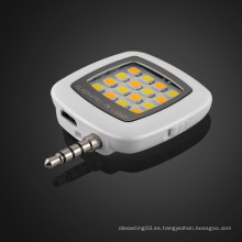 Portable multi-funcional mini tamaño incorporado 16 bombillas LED llevó luz de flash para teléfono móvil