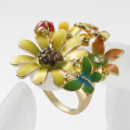 Trend of Female Charm Rings colorful enamel flower cluster with Imitation Diamond metal finger Ring
