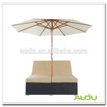 Audu Alumínio em vime duplo Chaise Lounge ao ar livre