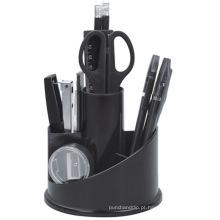 Organizador de artigos de papelaria de rotação de mesa de plástico em preto Color407