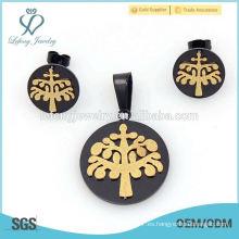 El estilo fresco de la manera negro y el cojín del oro cortaron la joyería del contrato fija la venta caliente
