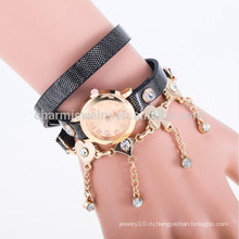 Мода женщин Vintage кожаный ремешок часы Установить Оже браслет Женщины платья часы BWL008