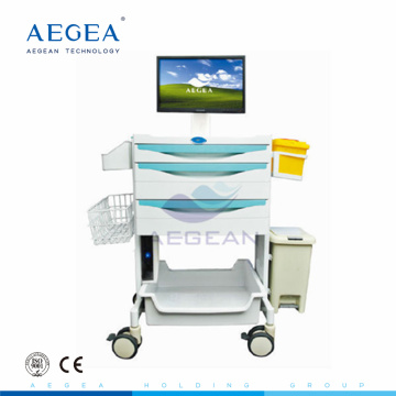 AG-MT014A CE ISO high quality luxurious workstation hospital computer trolley