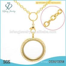 Belo flutuante locket hign final moda ouro colar de jóias por atacado