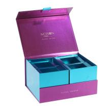Book Shape embossed logo custom boxes , Luxury display paper packaging double decker moon cake box
