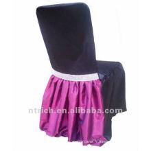 jupe élégante taffetas/satin chair, fixation chaise de banquet de mariage