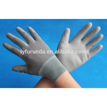 Gants de travail en polyester revêtu de PU gris fabriqués en Chine