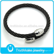 Black Leather Mens Jewelry Bangle Stainless Steel Charm Leather Bangle Fashion Men Bracelet