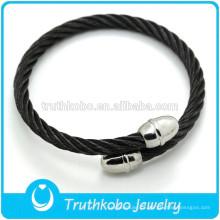 Pulseira de couro preto homens jóias pulseira de aço inoxidável charme pulseira de moda homens pulseira