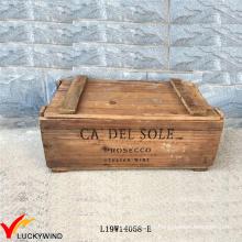 Almacenamiento artesanal restaurado Caja de madera de madera de color marrón