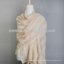 Moda rugas e listra Lenço de lã Mercerized / Xaile / Estola