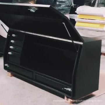 Caixa de ferramentas impermeável de aço do caminhão da pickup do OEM 4X4 com a gaveta de aço Caixa de ferramentas de aço da cama do pickup do OEM com gavetas de alumínio