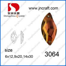 Flat Back Sew em Crystal Stone em forma de S