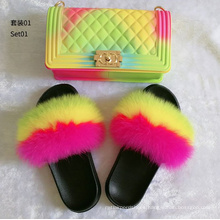 Rainbow color bags shoulder crossbody designer matching purse handbags raccoon real fox fur slides and handbag for women