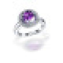 Big Round 3 Prong 1.0CT Cubique Cut Naturel Violet Améthyste Anneaux 925 Sterling Argent pour Femmes Engagement Fine Jewelry