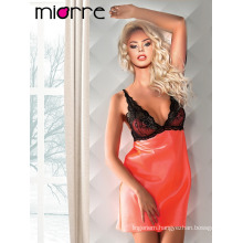 Miorre Sexy Lingerie Lace Satin Nightgown Set