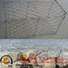 Arrêter l'inondation hexagonale fil de grillage galvanisé gabion paniers route isolement solide cages de pierre colline pente verdissement cages pour la pierre