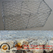 Stop flood hexagonal wire netting galvanized gabion baskets road isolation solid rock cages hill slope greening cages for stone