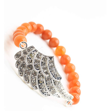 Red Aventurine Gemstone Bracelet with Diamante alloy big wing Piece