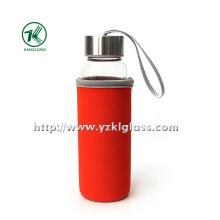 Стеклянная бутылка с крышкой из нержавеющей стали с наружным покрытием из неопрена,,,,.