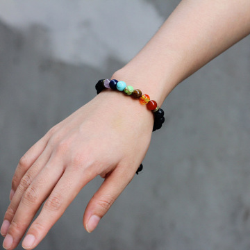 Adjustable batu gelang 7 cakra lava