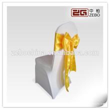 Hot vendendo projeto direto fábrica feita cetim tecido personalizado ouro cadeira sashes