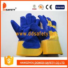 Vaca de cuero azul dividido soldadura de trabajo guante (DLC226)