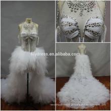 Real Made Pictures Beading Custom Made Formal Bridal Dress Vestidos De Novia BW099 vestido com a frente curta e o longo trem