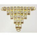 Oro Metal Trim Lady Diamante V Forma Sandalias Trim