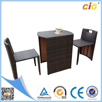 Exterior Marrón y Negro 3 piezas de muebles de jardín