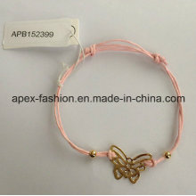 Fabric Bracelet with Butterfly Fashion Jewelry Bangle
