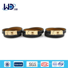 2015 Double Stitched Gold Buckle Leather Bracelet