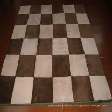 Brown shaggy cowhide patchwork rug fake fur rug