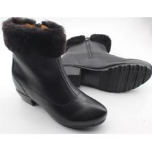 Черный женщин сапоги плоские сапоги с мехом внутри