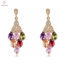 Novo Design indiano 2 4 Gram Brinco de Ouro, Brinco de Ouro de Cristal Mutável