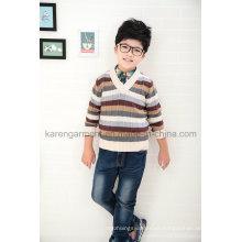 Jersey con cuello en V acanalado con estampado de rayas de lana para niños