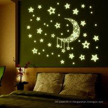 Papier Autocollant Papier Fourniture D'usine De Vente Chaude Room Decor Kids 3D Glow Dans Le Sombre Wall Sticker En Mousse
