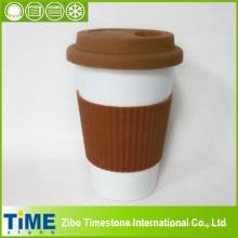 Porcelana taza de café para llevar reutilizable con mangas (15032802)