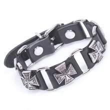 Fashion metal alloy cross accessories genuine leather bracelet antique silver plated bangle for men wholesale price