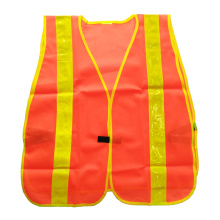Fluorescent orange mesh safety vest with prismatic tape