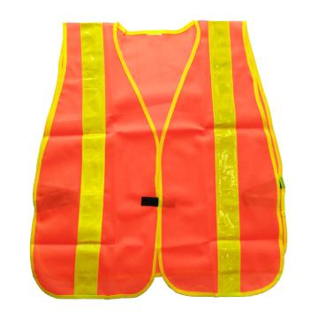 Chaleco de seguridad de malla anaranjada fluorescente con cinta prismática