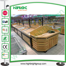 Hypermarket Wooden Display Stand for Fruits and Vegetables