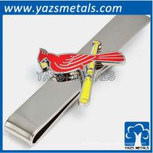 Cardinals tie bar, clipe de gravata em metal feito sob encomenda com design