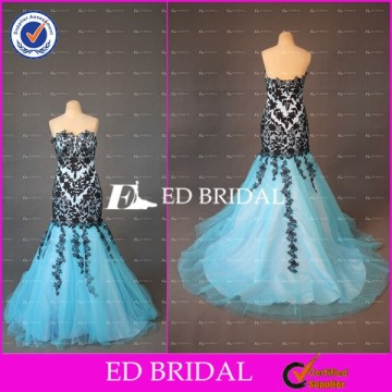 ED Bridal Elegant Mermaid Lace Appliqued Sweetheart Neckline Zipper Sky Blue Tulle Long Evening Gown Design