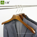 Men clothing store flat hook wood clothes hanger custom logo